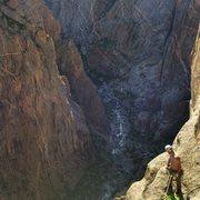 Rock Climbing Photo: Jay enjoying the final belay ledge before the rim.