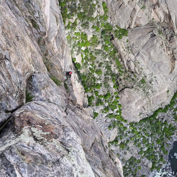 Rock Climbing Photo: Jj near the top.