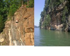 other potential limestone cragging along tn river other than the cherokee bluffs. photos pulled off image thumbnails in google earth that show up on the map.