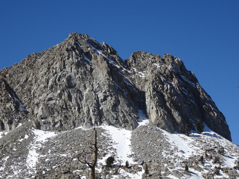 A view of the east face of Crystal Crag from a bit more to the south. This shows the start of the gully better as well as the relative steepness of the upper snowfield.