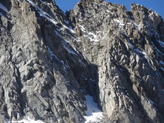 Rock Climbing Photo: A close-up of the start of the central gully on Cr...