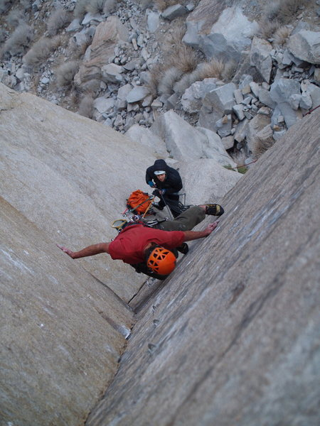 Rock Climbing Photo: Chance taking one of the first lead attemps, Katie...