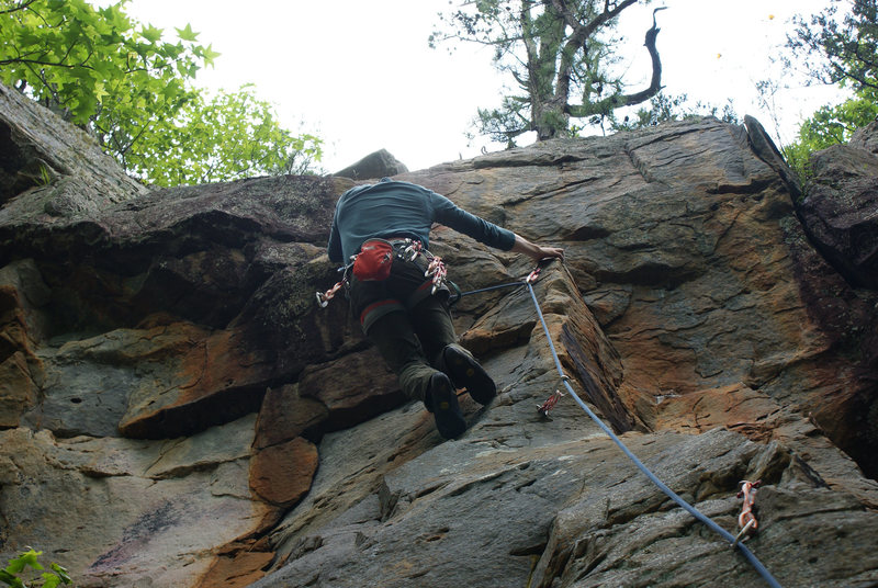Rock Climbing Photo: Beginning the transition from the arête to the ro...