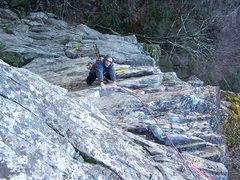 Rock Climbing Photo: Dennis above the crux on pitch 2 of the first asce...