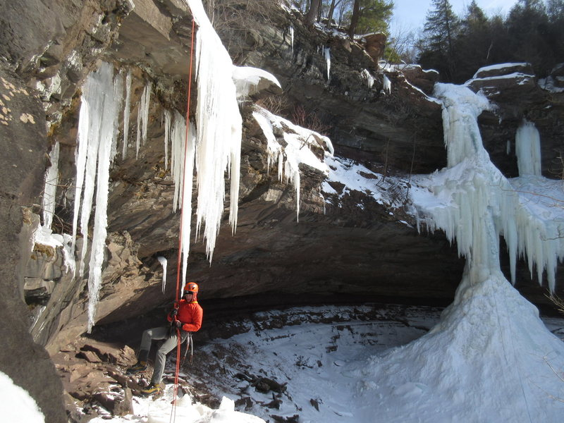 """Jan 2015 -- Brandon rapping off the upper tier of Kaaterskill Falls after we climbed both pitches. The upper falls had just come in the week before and was still creaky. As I led the final 50' you could see water rushing down behind the ice, which was about 12"""" thick. Temps were b/w 0 and 5 degrees (F), so cold as hell!"""
