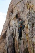 Rock Climbing Photo: Steven on Shoot at Will (5.8), Holcomb Valley Pinn...