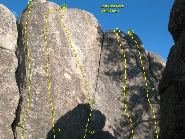 Topo for Lost Orbit Rock (West Face), Holcomb Valley Pinnacles<br> <br> A. Pablo Cruise (5.10a TR)<br> B. Cruise Control (5.10a)<br> C. Bear Essence (5.10a)<br> D. Bear Pause (5.7)<br> E. Benevolant Bruin (5.8)<br> F. Ursa Major (5.10c)