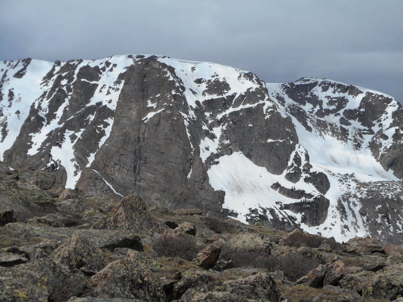 Snow conditions on Notchtop, June 6, 2015. Note cornice at top. Taken from north shoulder of Flattop Mtn.