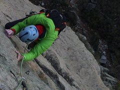 Rock Climbing Photo: Shallow corner approaching the top of P2.