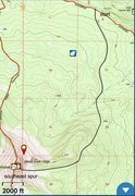 Rock Climbing Photo: Approach on the map. The trail is hardly visible, ...