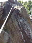 Rock Climbing Photo: This pic shows the upper 5.12- crux. Two bolts lon...