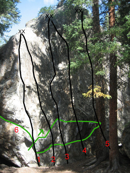 All routes:<br> <br> #2 & #4 are topropes. 2 is a 10a, 4 is a 11b (according to the Summit climbing guide).