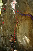 Rock Climbing Photo: Begginers wall in red dashes and alternative start...