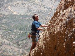 "Rock Climbing Photo: Enjoying pleasant weather on ""Hook 'Em Horns...."