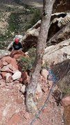 Rock Climbing Photo: Second rap anchor on AOP.  From here with double (...
