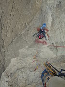 "Rock Climbing Photo: Looking down at the ""belay"" from midway ..."