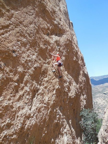 "Nearing the boulders crux of ""BTS."""