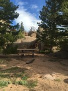 Rock Climbing Photo: Get On the Good Foot is just behind this bench in ...