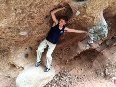Rock Climbing Photo: Right hand pocket - near elbow. Boulder is slipper...
