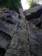 Rock Climbing Photo: On top of the pillar where climbing transitions in...