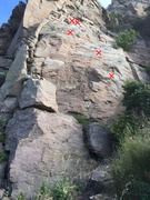 Rock Climbing Photo: Quetzal (5.4) with white spray painted 'X'