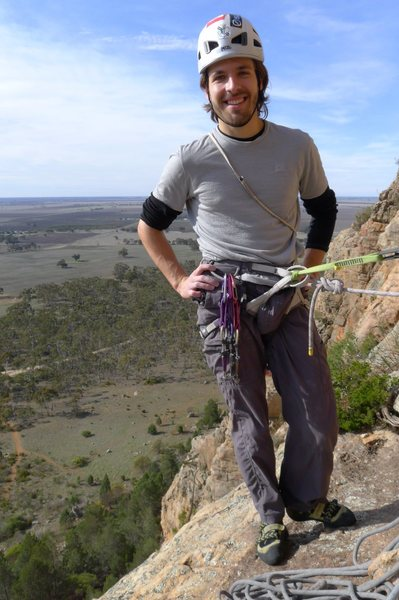 "At the first belay on ""Creon Tales"" (18) at Arapiles, Austalia."