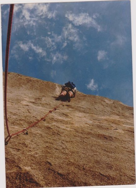 Don Thompson climbing the once 'Bolt Ladder' on Headstone Rock in 1978.
