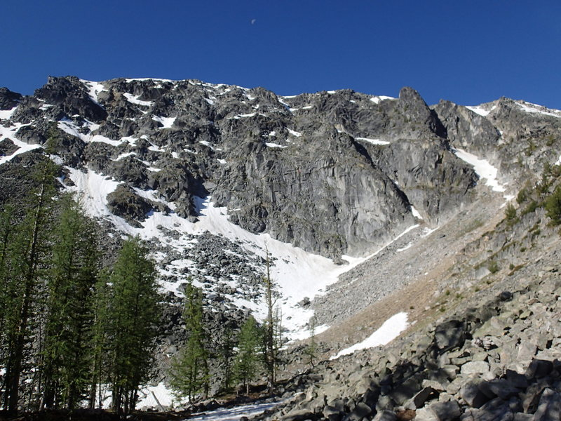 North Face of Tiffany Mountain in early June