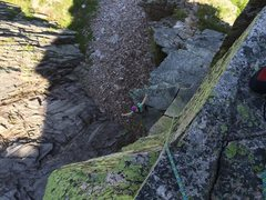 Rock Climbing Photo: Hannah above the 5.8 crack variation. I hand trave...