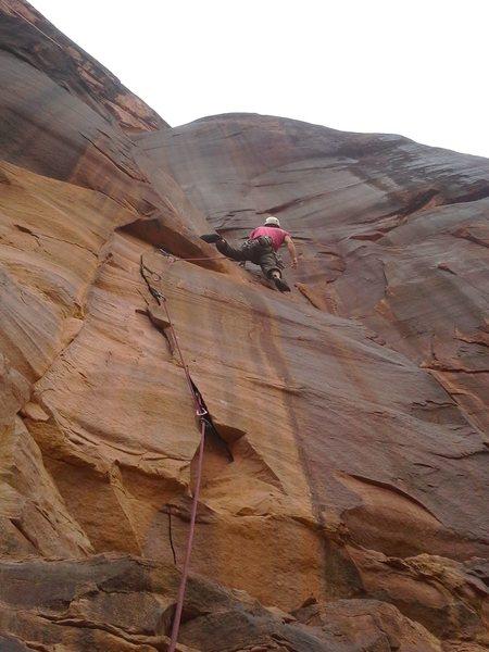 Rock Climbing Photo: Steven past the PG-13 flake start.
