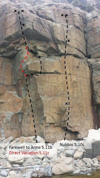 Rock Climbing Photo: Farewell To Arms (Variation shown in Red)