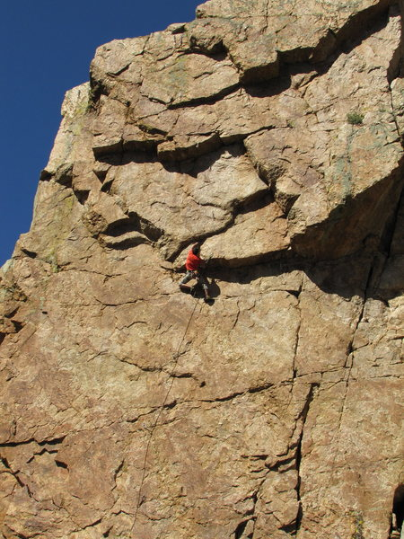 J. Tarry launching into the crux. This is the lunge move up and right followed by the sidepulls crux.