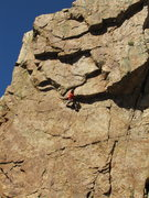 Rock Climbing Photo: J. Tarry launching into the crux. This is the lung...