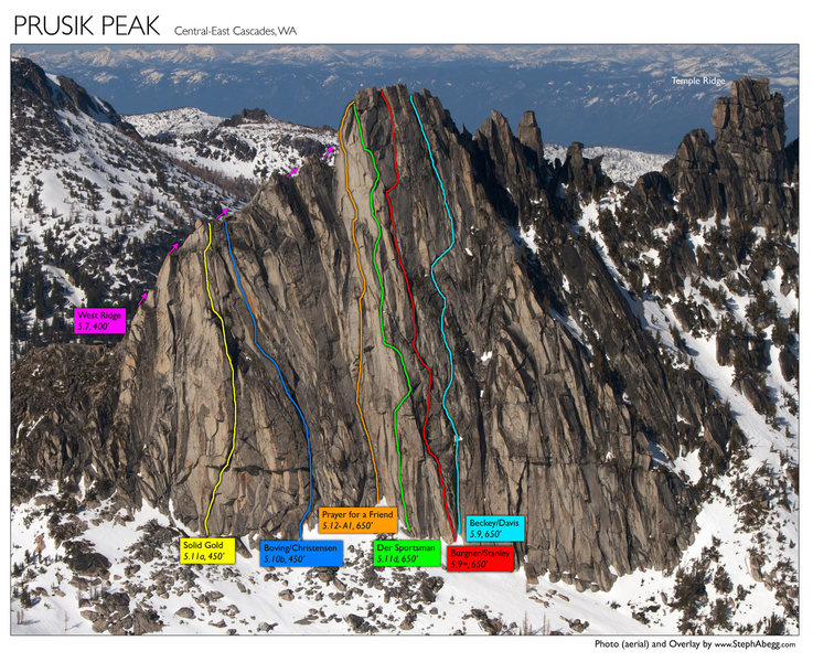 Routes on Prusik Peak<br> (mistake: the Boving-Christensen route overlay needs to be shifted left a bit. It accidentally got shifted right in photoshop.)