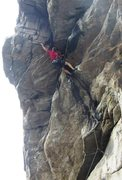Rock Climbing Photo: Just above the crux, traversing out to the quartzi...