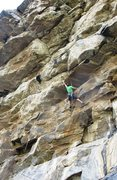 Rock Climbing Photo: Sticking a big dyno near the start.