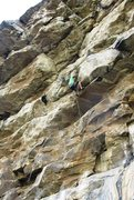 Rock Climbing Photo: Pulling through the sustained overlap section at m...