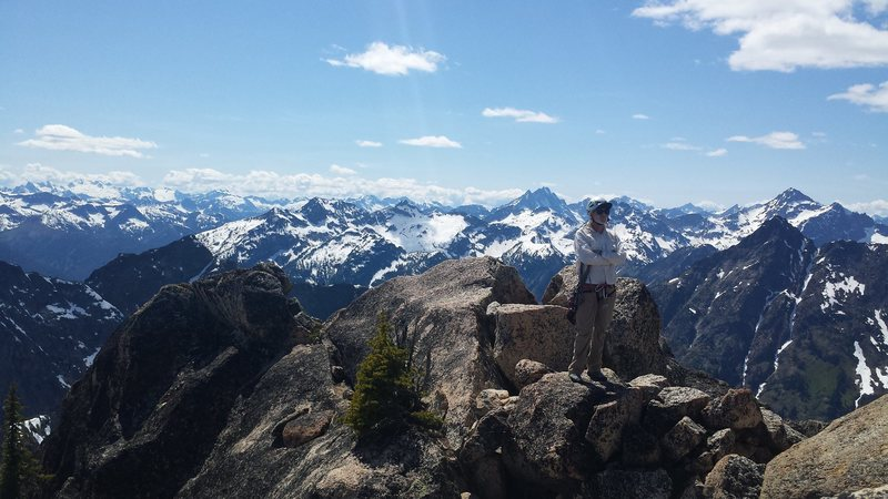 Unknown mountaineer on summit.