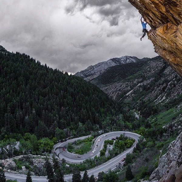 Pulling the lip at the end of the amazing S-Curve Overhang, 5.11+, Big Cottonwood Canyon.