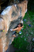 Rock Climbing Photo: Nat hits the small left crimp near the end of the ...