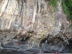 Rock Climbing Photo: From left to right: Voodoo Doll (5.13a), Phet Mak ...