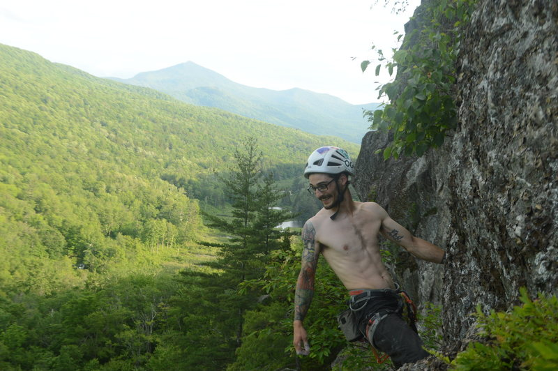 Enjoying the sweet moves at the top on the first ascent of Rancid Meat!<br> <br> Photo by Russell Frisch