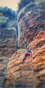 Rock Climbing Photo: McLane climbing the chossy section before the firs...