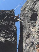 Damion gets ready to traverse over to the crack.