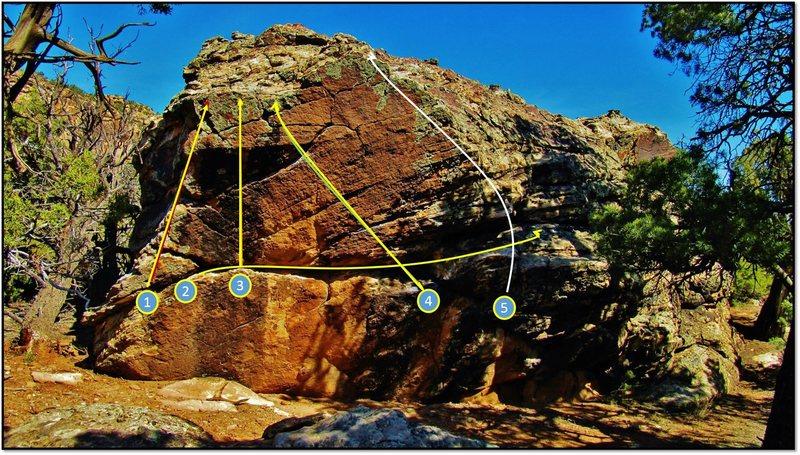 Rock Climbing Photo: The south face problems of Zevon:   1. Gotit (V2)....