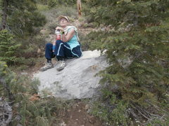 "Rock Climbing Photo: Julie on that same ""mystery boulder"" che..."