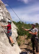 Rock Climbing Photo: Addie starting the Cowboy Route on Bath Rock 2015