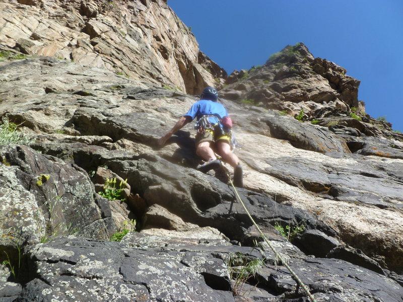 Rock Climbing Photo: Rick leading the third pitch.