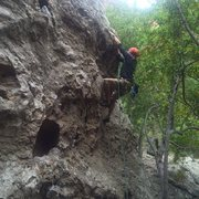 """Rock Climbing Photo: Tony working on a new route between """"Moonshin..."""