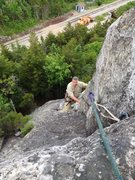 Rock Climbing Photo: Jim Mirabella at the top of The Trunk Right Varian...